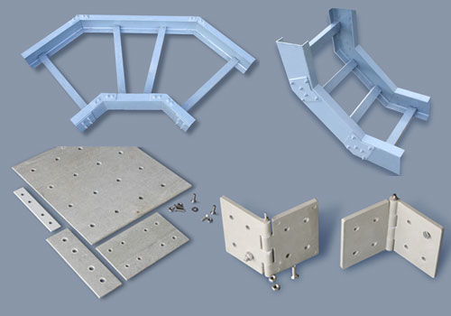 Accessories for Ladder Type Cable trays,  Cooling Tower Structure, FRP Gratings, Phenolic Grating, FRP, GRP, Cable Tray, Cabletray, etc.